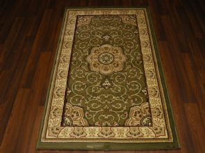 Woven Backed Green Traditional Carved Rug 80cm x 140cm Approx 5x3 Top Quality